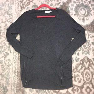 Tunic length gray sweater